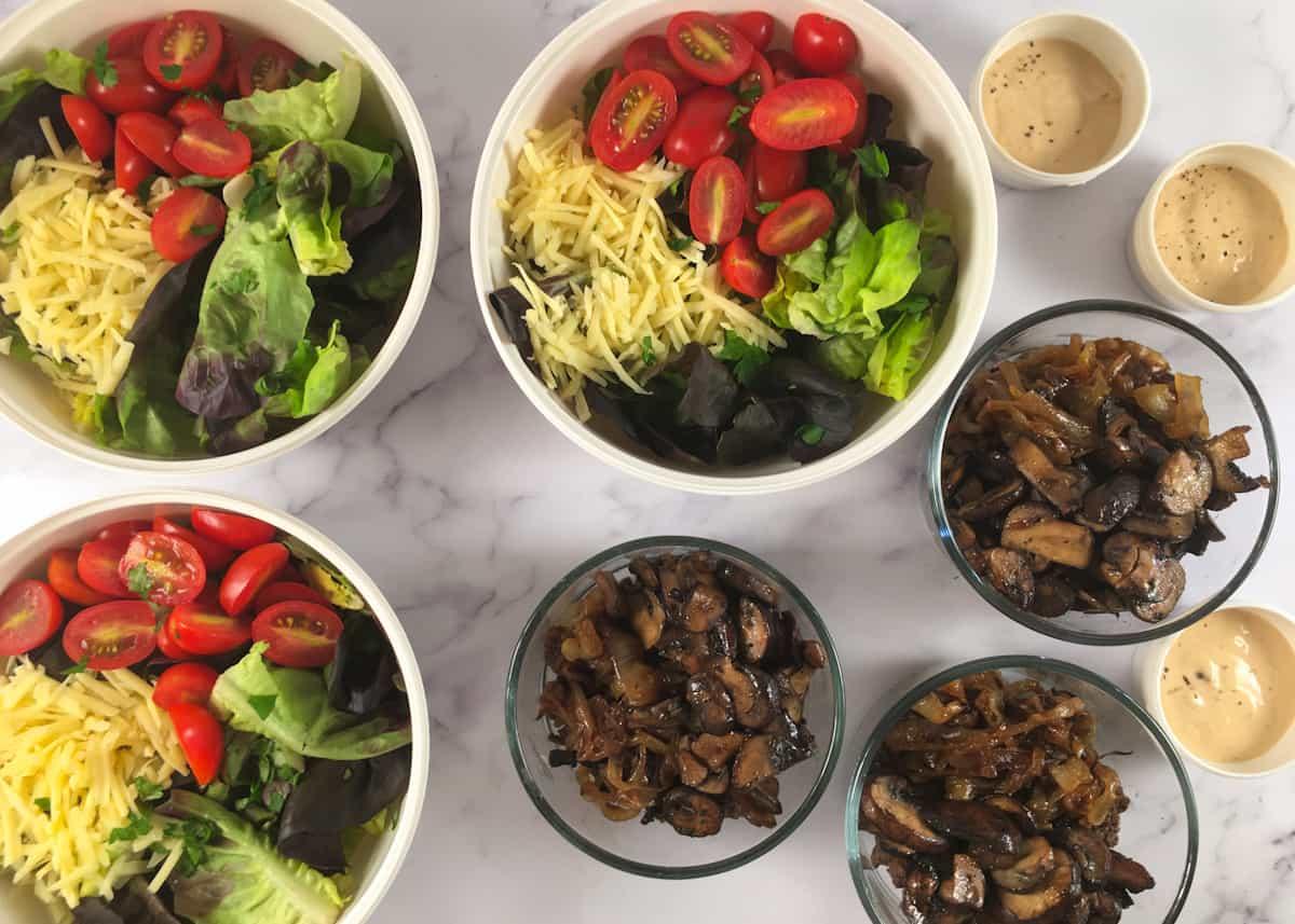 keto salad meal prep