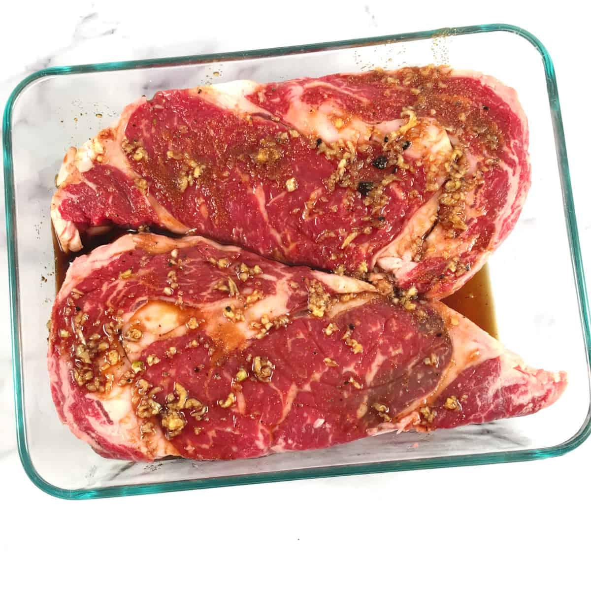 marinated rib eye steak