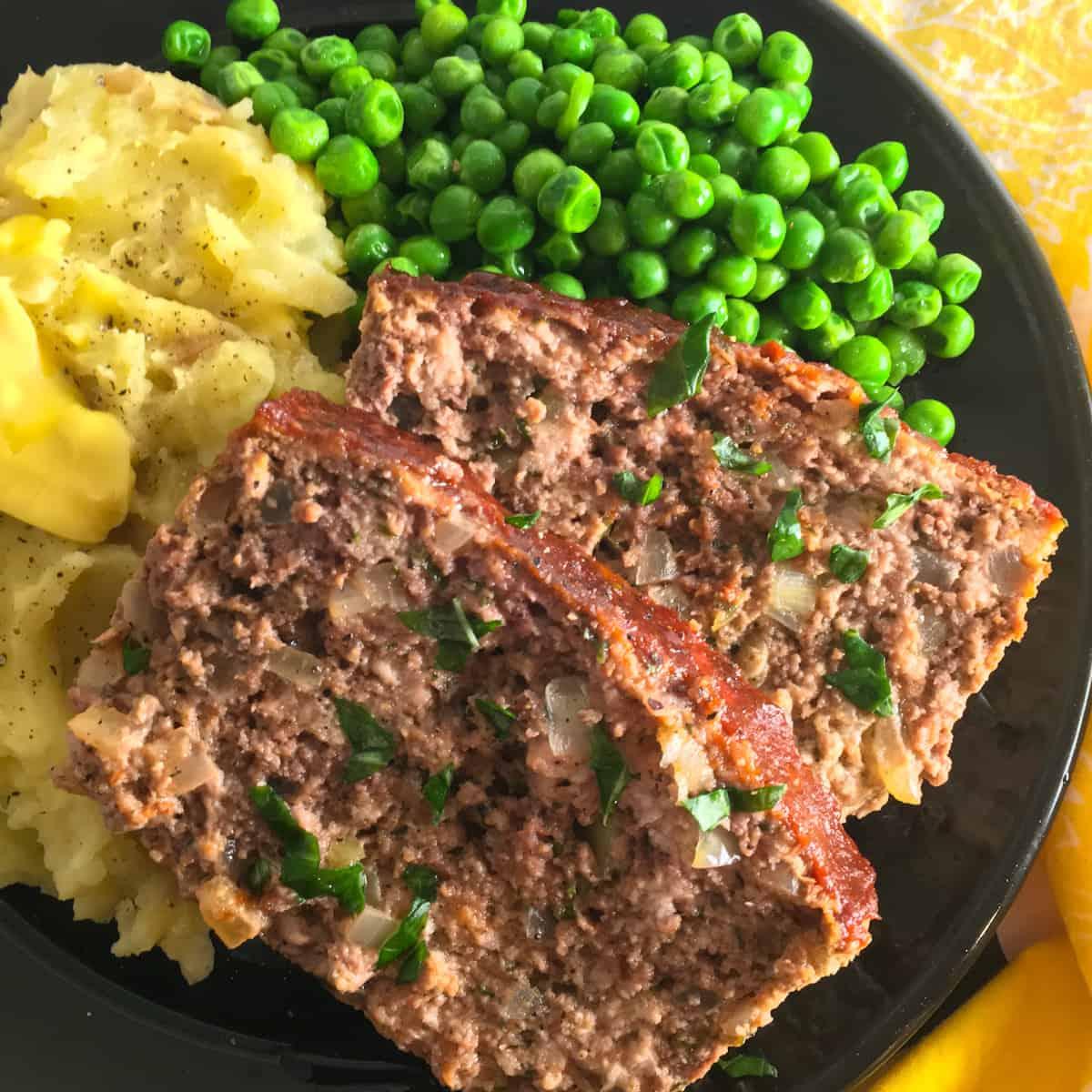 meatloaf potatoes peas
