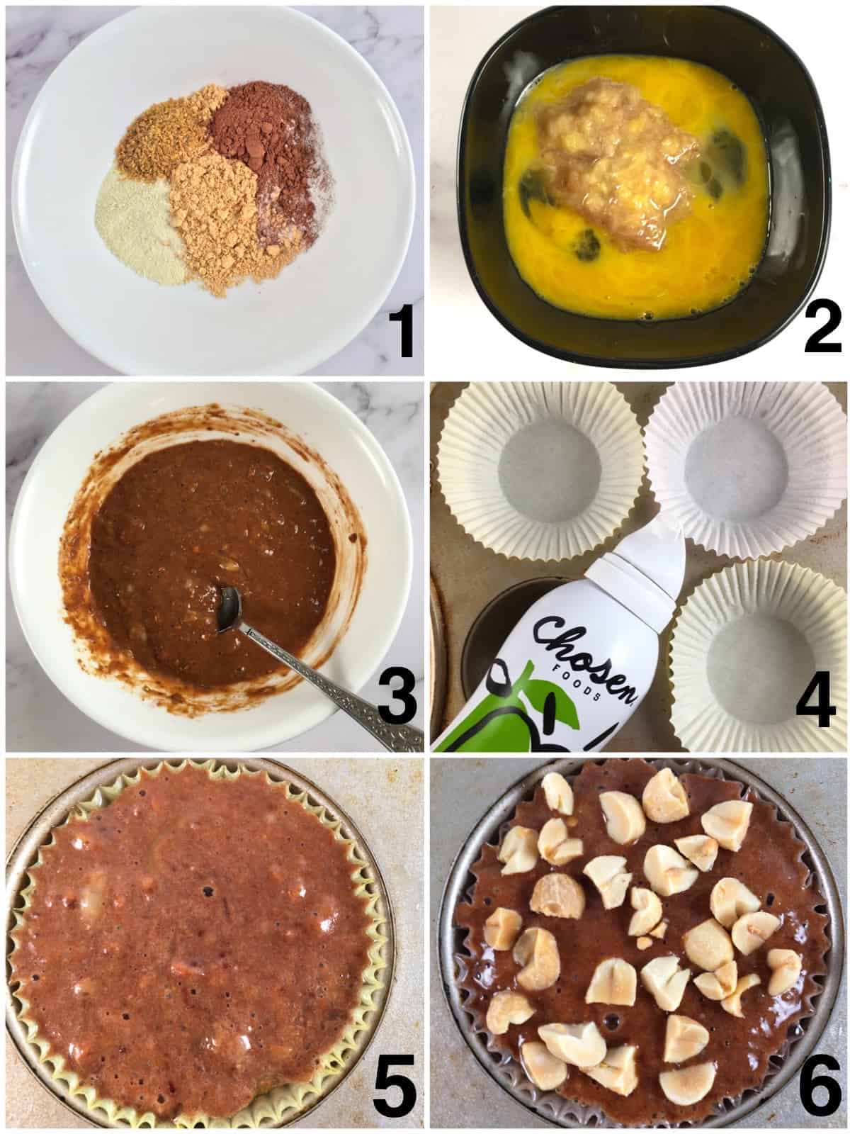 step by step making banana protein muffins