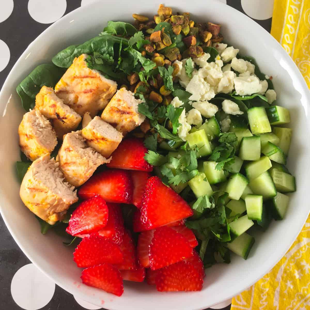 strawberries chicken salad