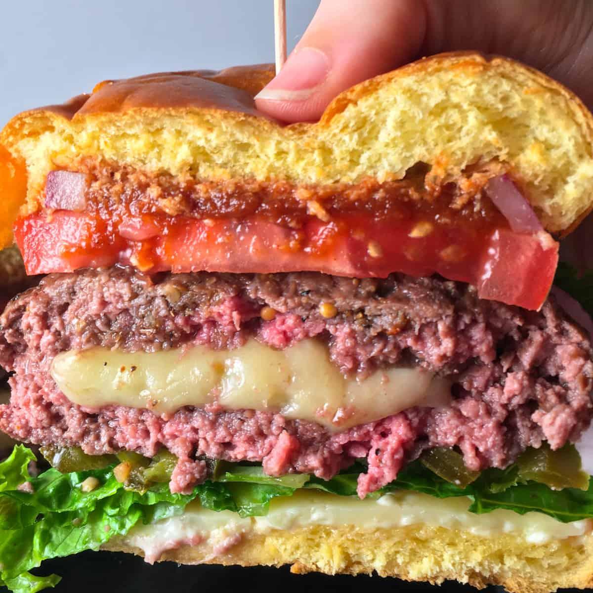 air fryer stuffed burger
