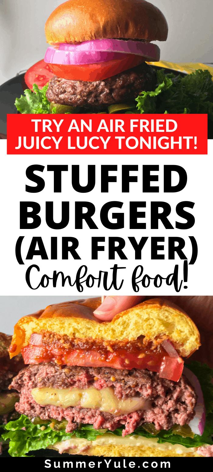 air fryer stuffed burgers