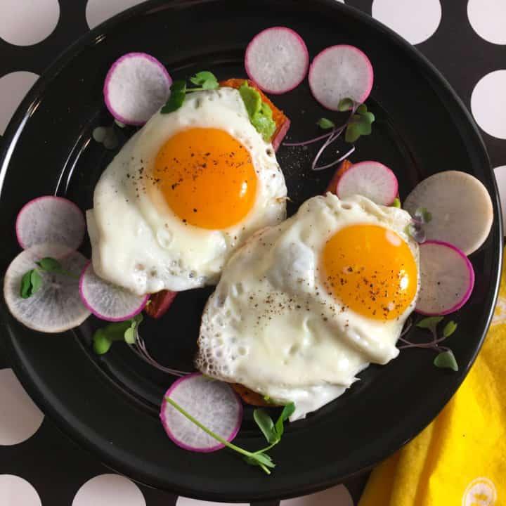 fried egg on sweet potato toast